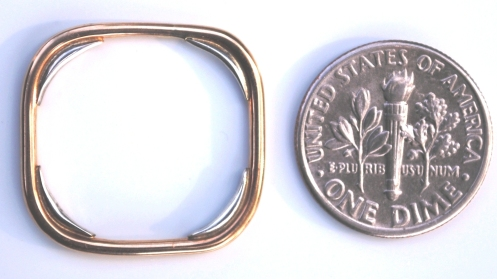 gold sterling corners square ring  coin